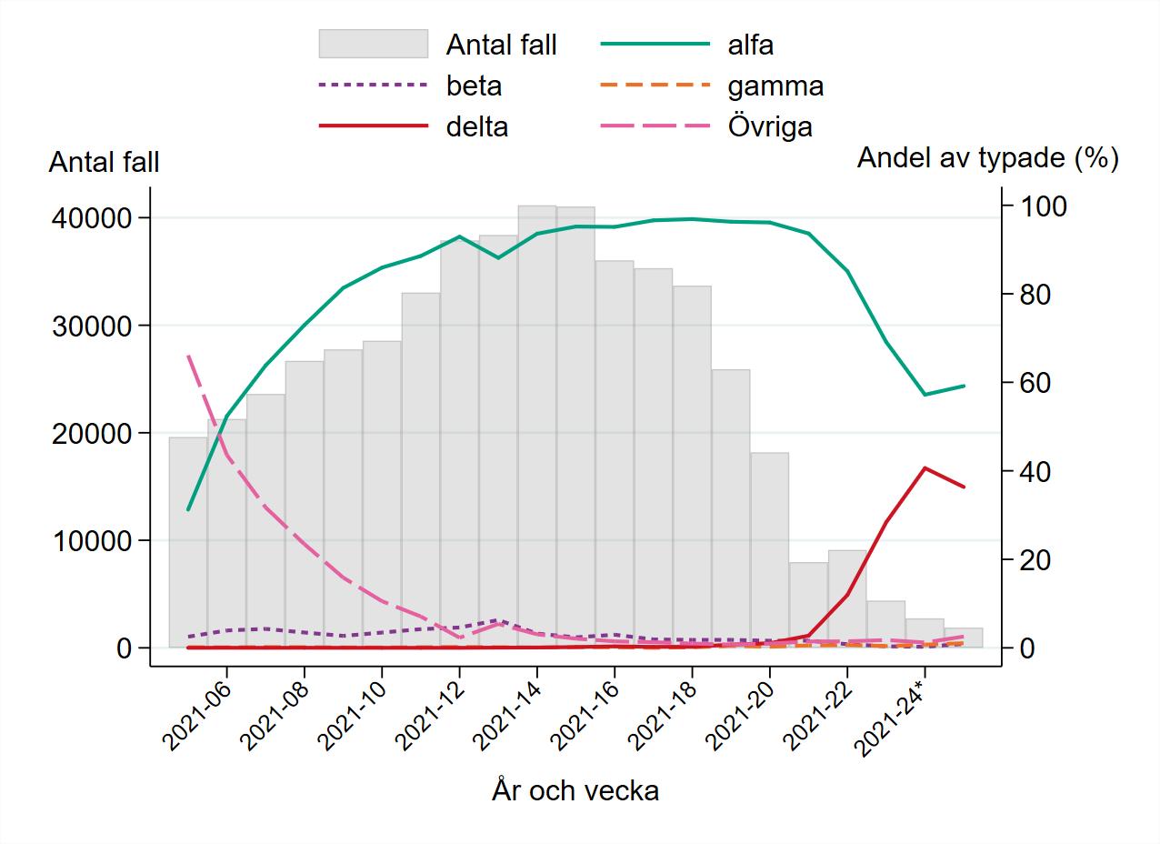 Linjediagram som visar andelen av fall som är alfa, beta, gamma, delta respektive övriga varianter per vecka. Diagrammet visar även antalet fall totalt sett. Observera att dataunderlaget är ofullständigt för vecka 24 och 25 och kommer att justeras i efterhand allteftersom ytterligare resultat rapporteras in.