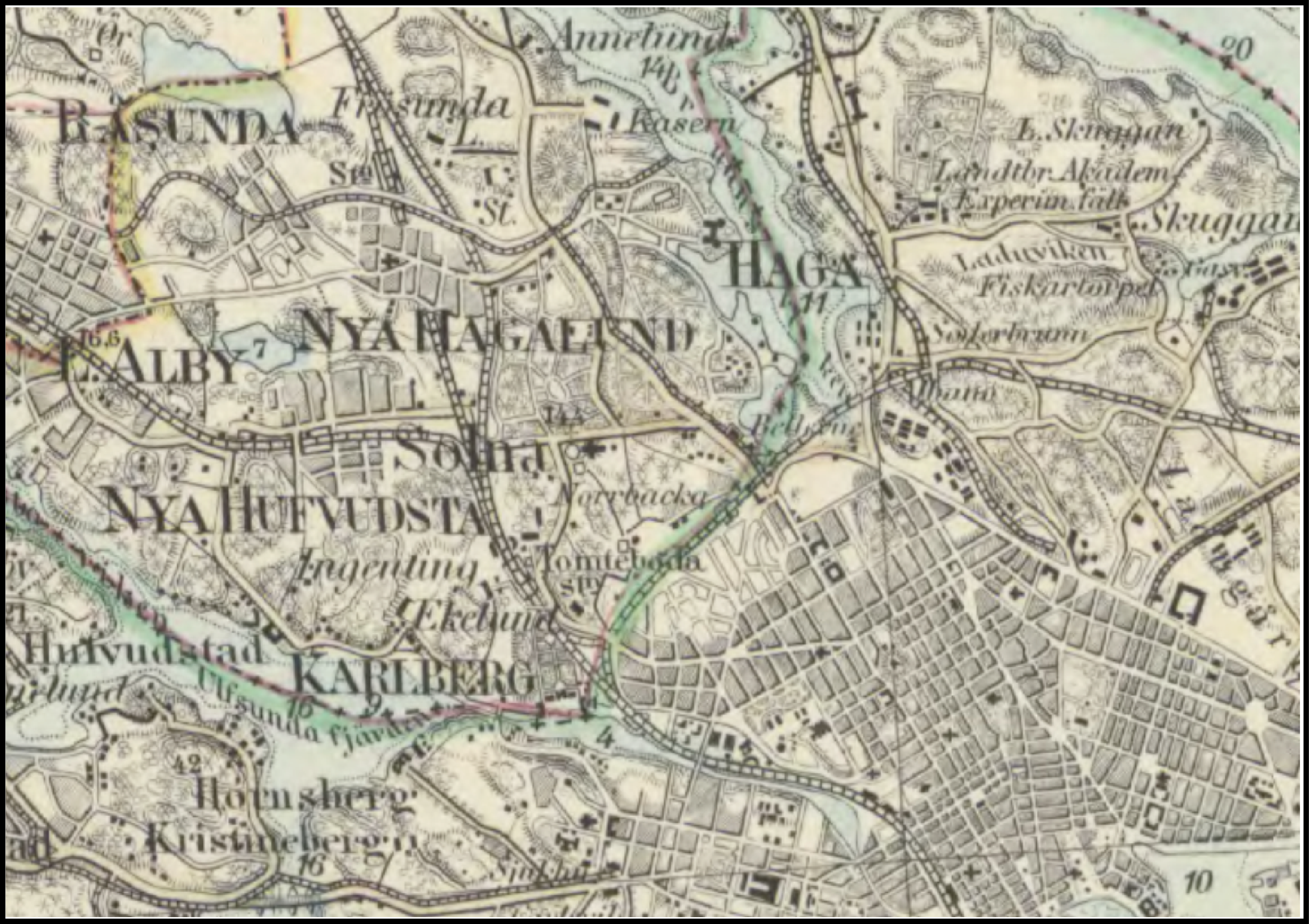 Figure 1. Part of the General Staff map over Solna and Vasastan in Stockholm and Solna municipalities. The map includes surface elevations, bathymetric point data, and highly generalised land cover classes. This example is from 1873.