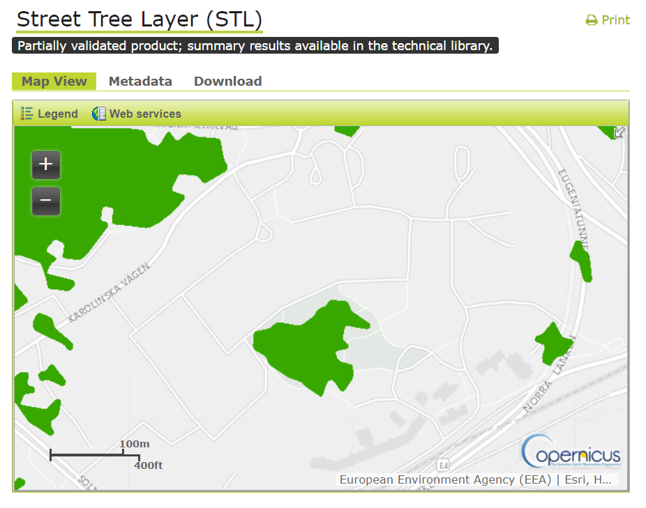 Figure 4. A screenshot of the WMS Street Tree Layer product over the Karolinska hospital and campus. There is a significant underestimation of the tree population, and tree polygons are mislocated over major arterial roads.