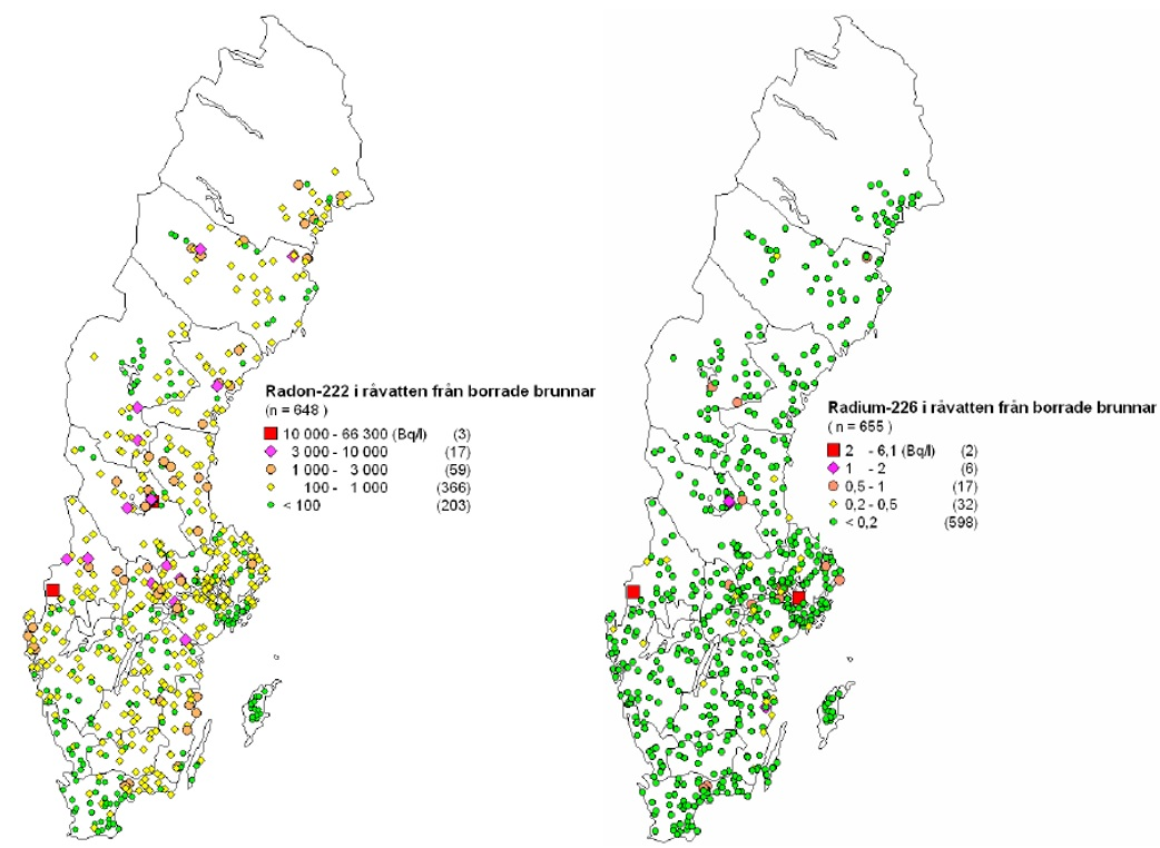 Figure 5. Radon levels in drilled wells (Bq/l) across Sweden from data gathered by SGU and SSI 2001-2006 (after (33)).