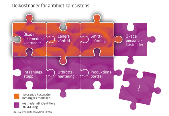 Illustration delkostnader för antibiotikaresistens
